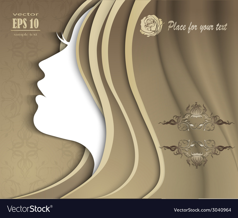 Silhouette of a girl with luxurious hair vector