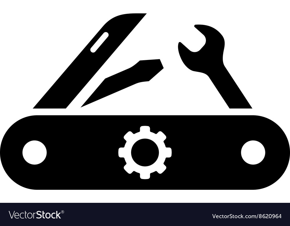 Swiss knife flat icon vector