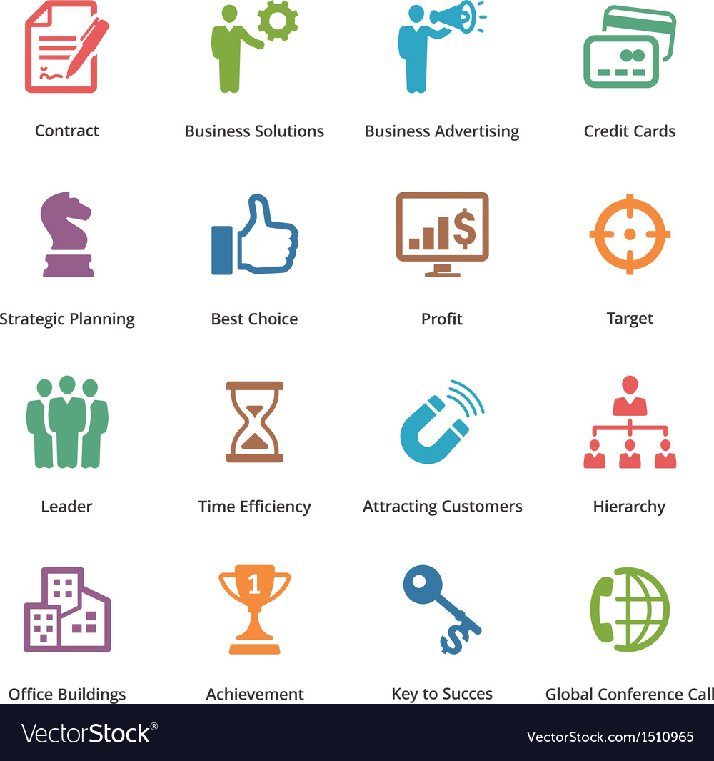 Business icons set 2  colored series vector