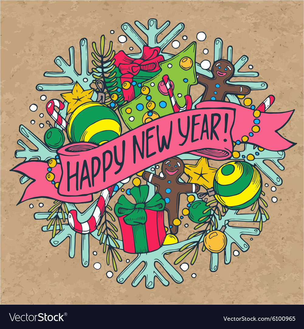 New year greeting card with holiday stuff vector