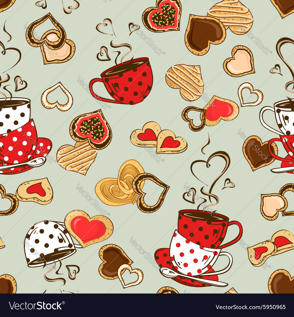 Seamless pattern of teacups and cookies vector