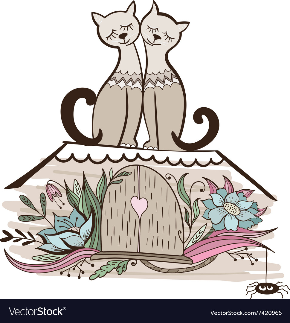 Vintage card with cat love vector