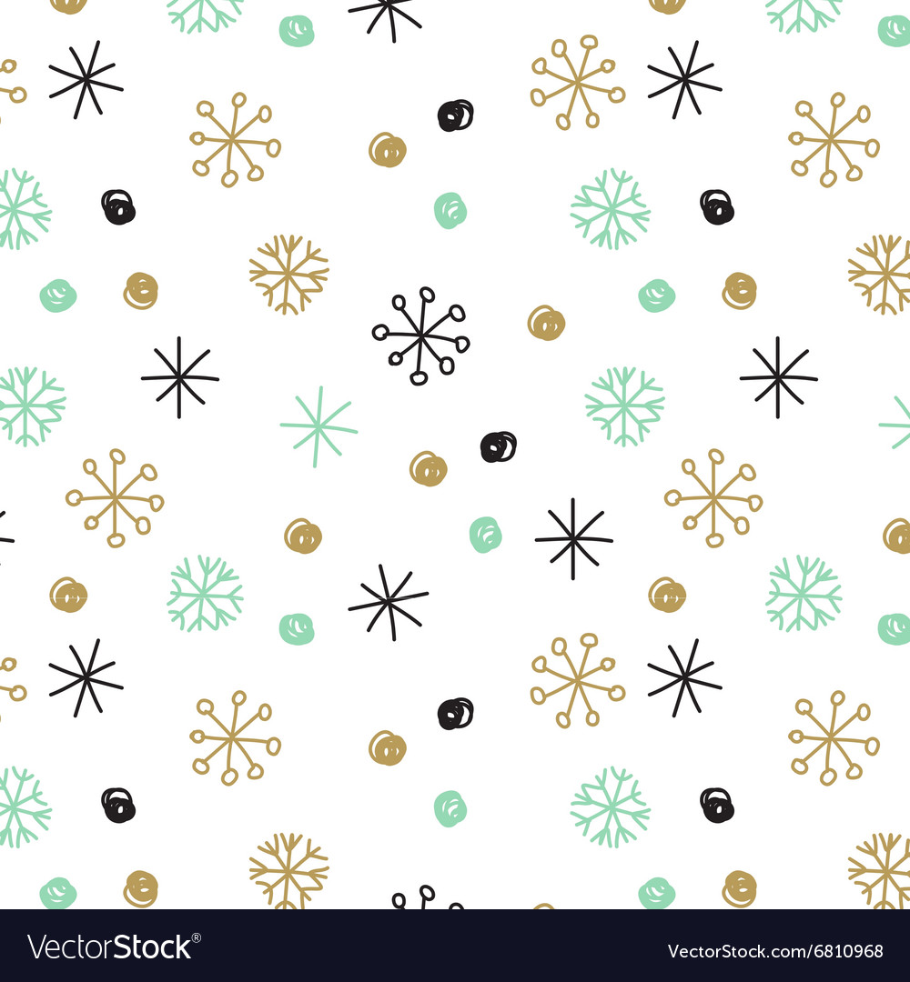Background with hand drawn snowflakes and vector