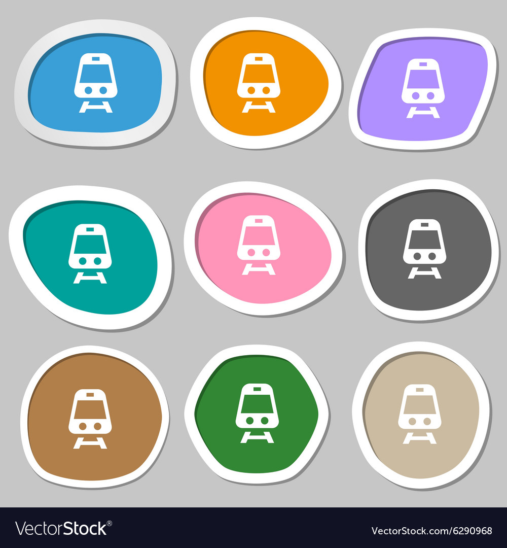 Train icon symbols multicolored paper stickers vector