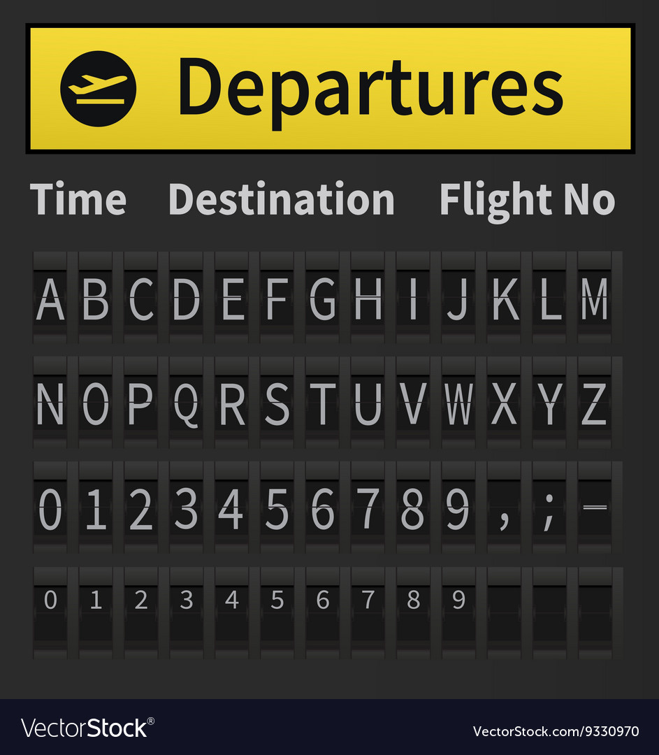 Airport timetable alphabet vector
