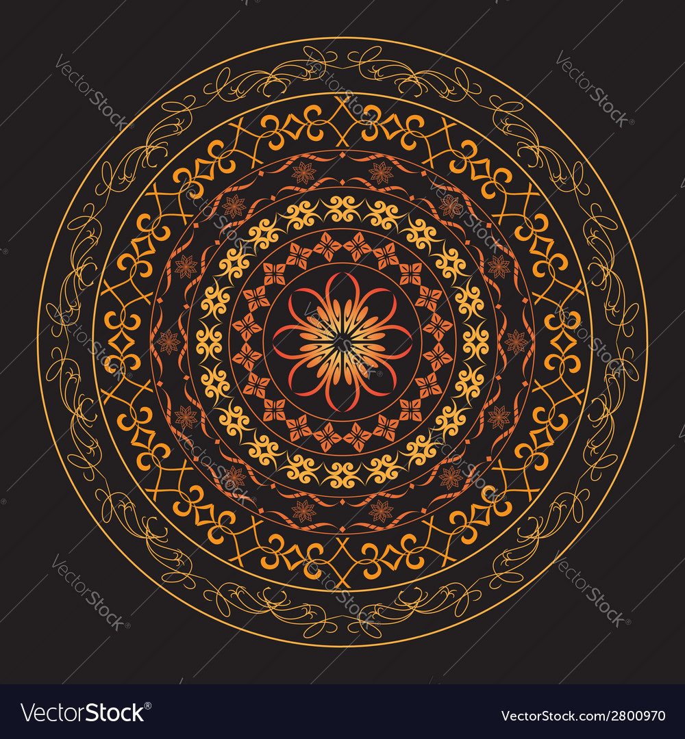 Bright round geometric ornament vector