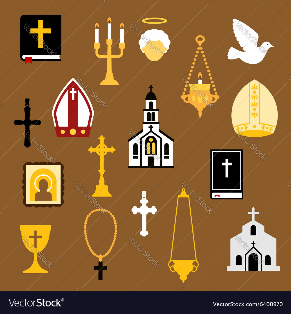 Religious christian and catholic flat icons vector
