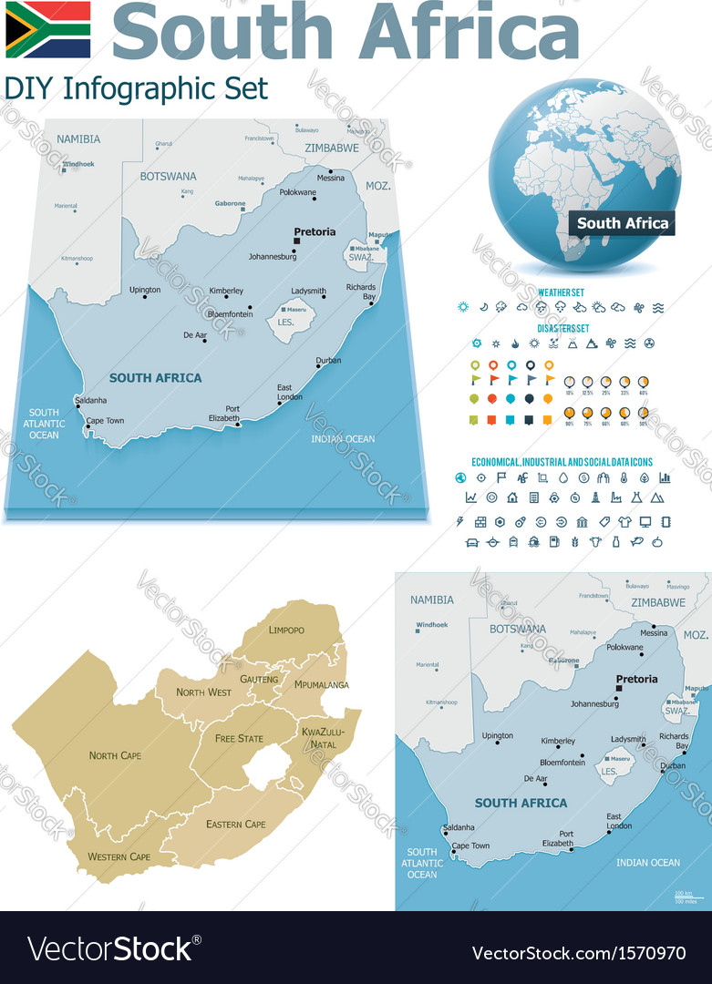 South africa maps with markers vector