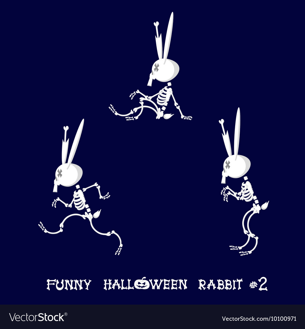 Cute and funny skeleton rabbit in different poses vector