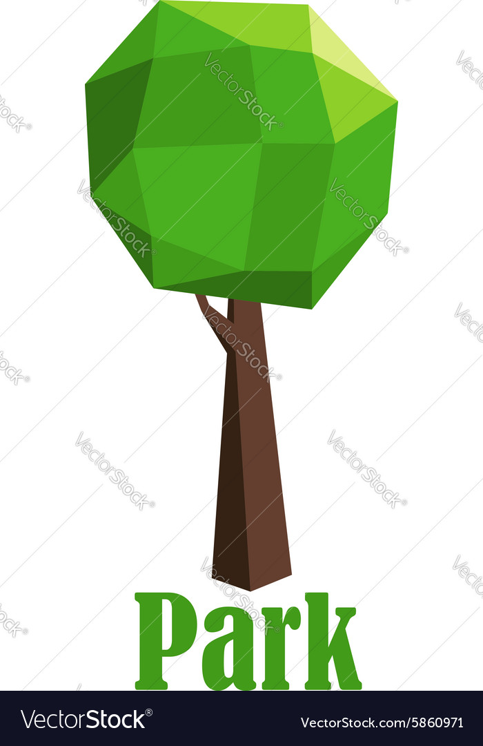 Park icon with polygonal green tree vector