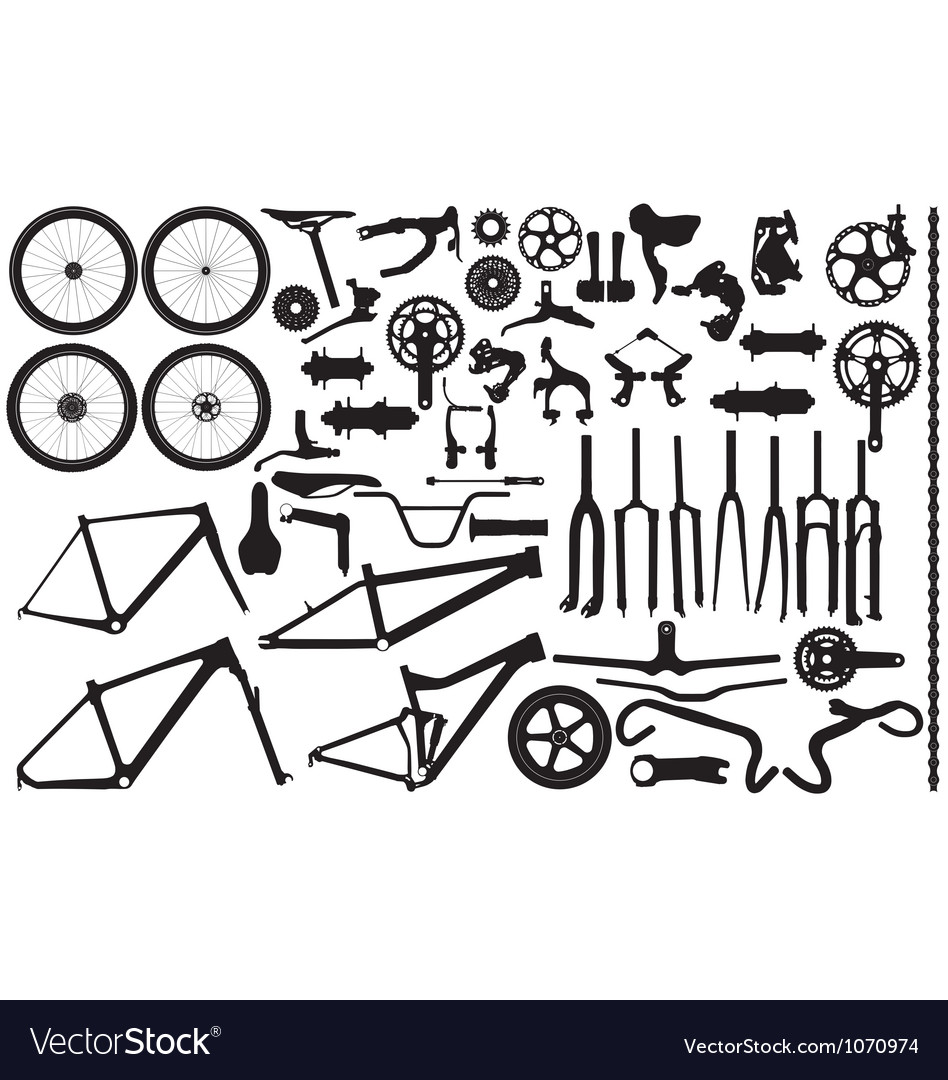 Bicycle part silhouettes vector
