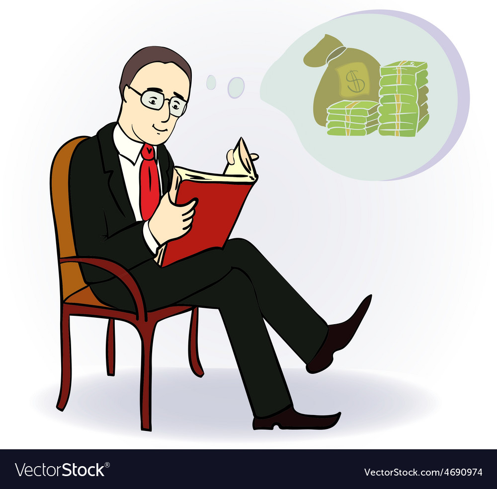 Man dream about money concept cartoon vector