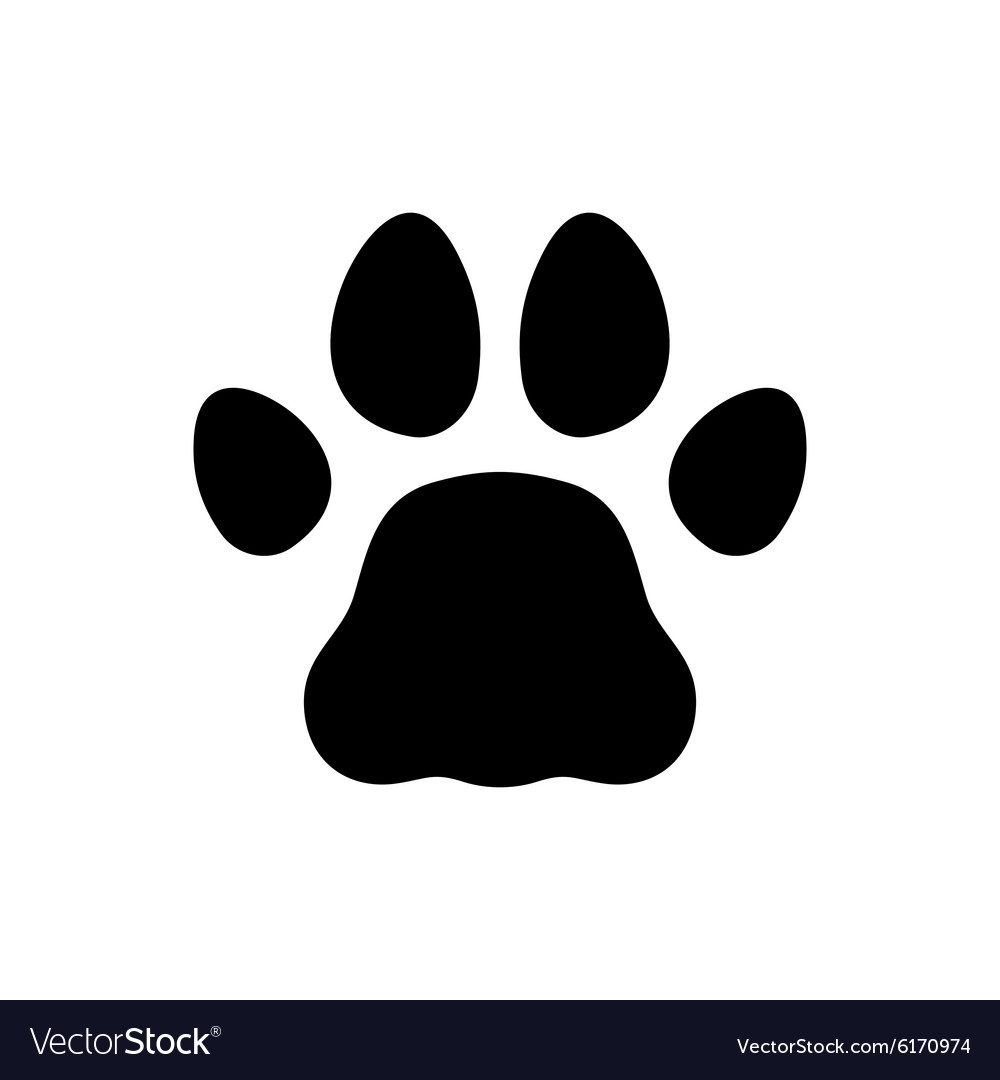 Paw black print icon on white background vector
