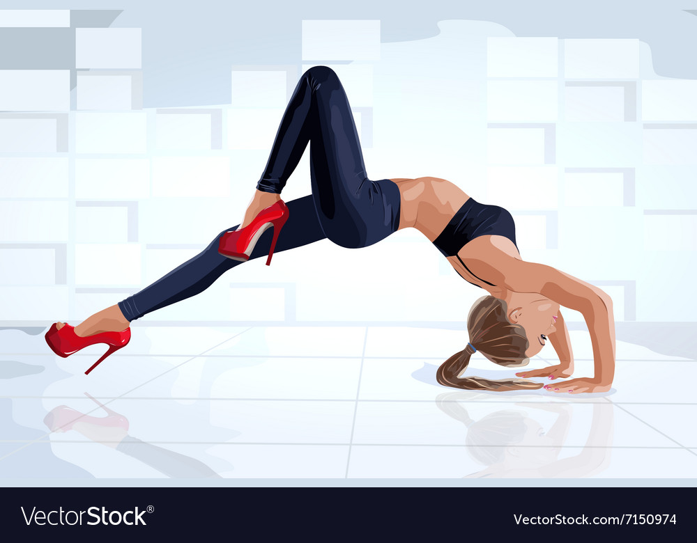 Young sexy slim woman dancer vector