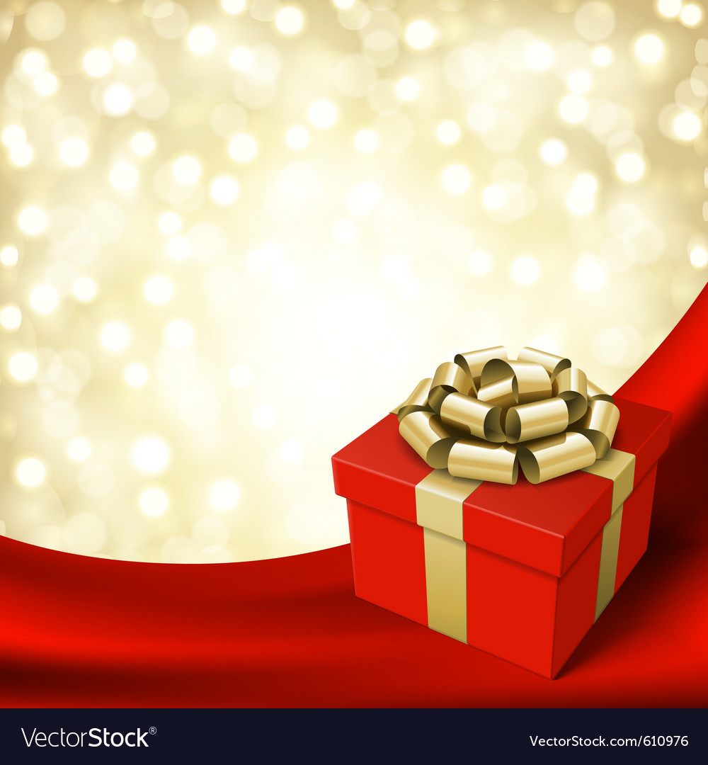 Gift box with ribbon on curtain vector