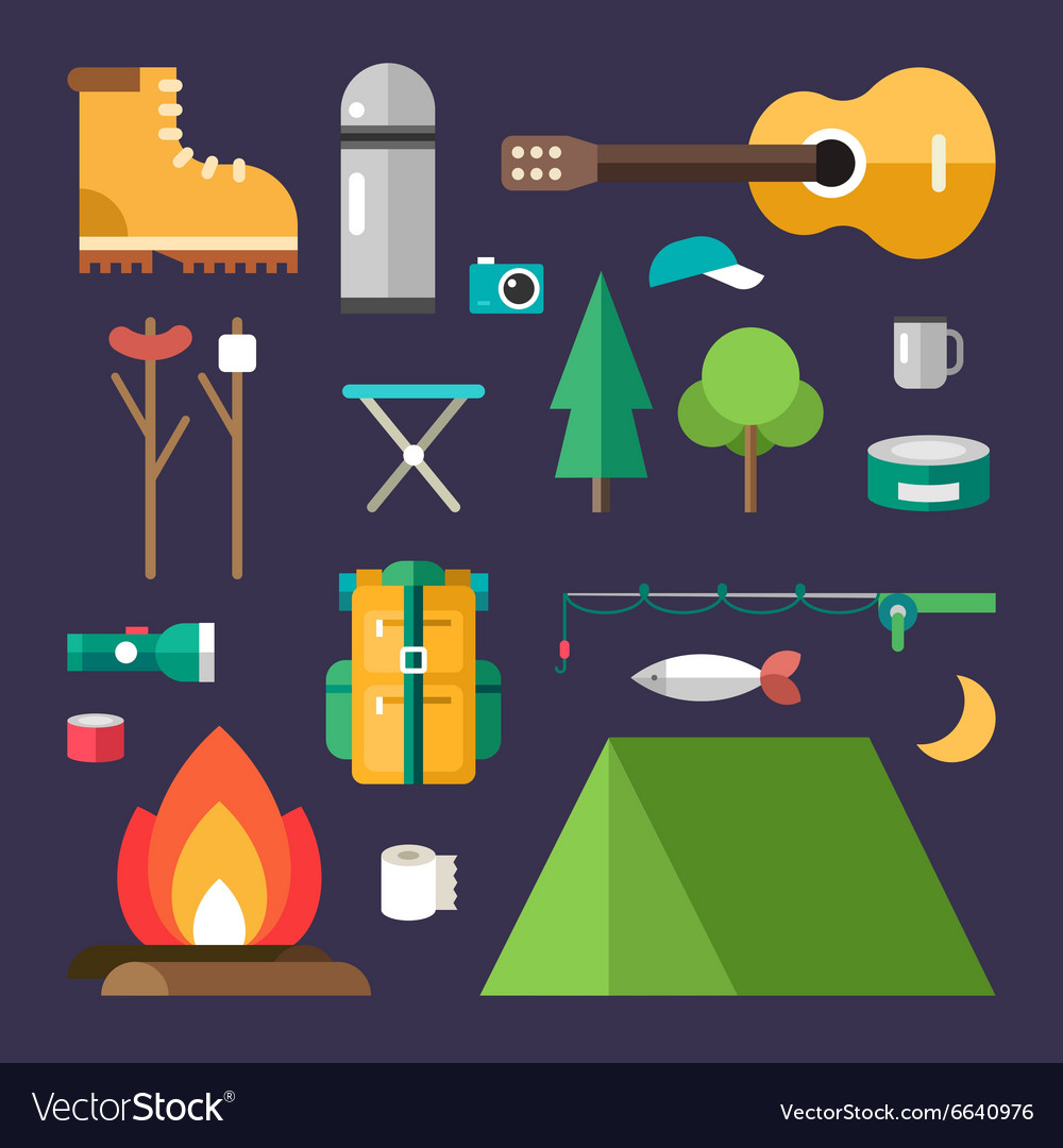 Tourist equipment set of icons and in flat design vector