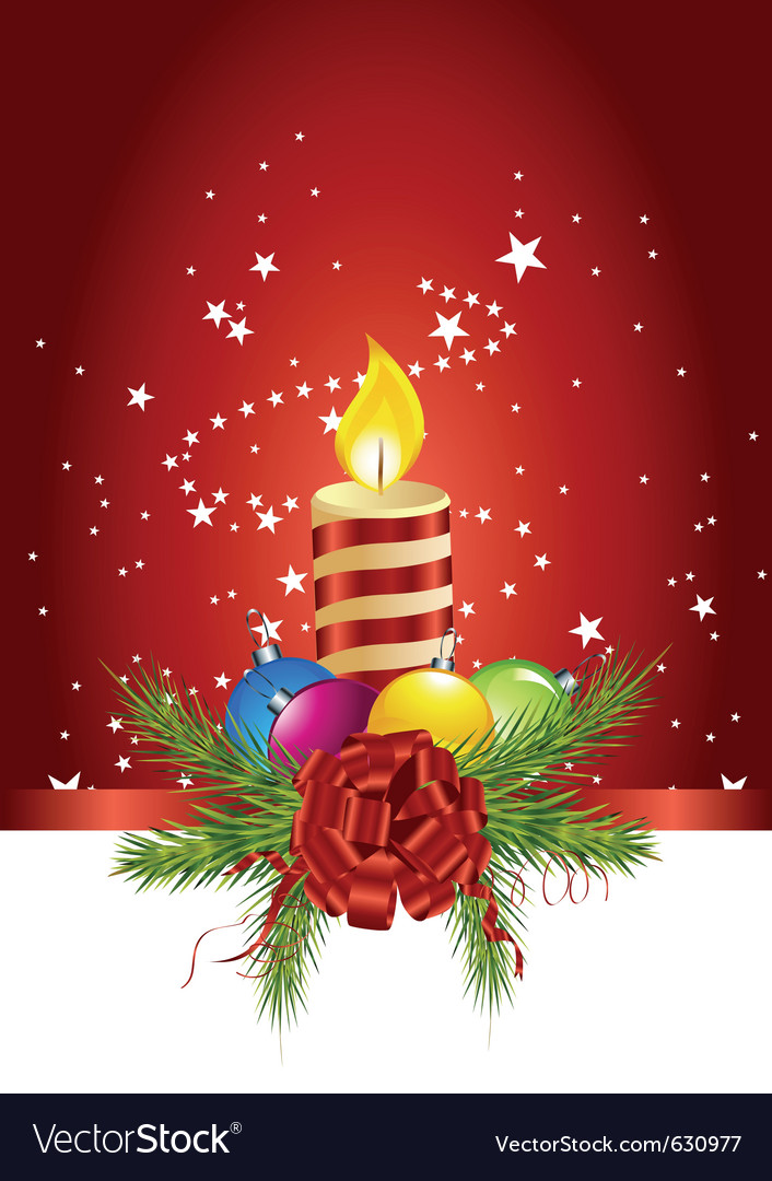Christmas ball candle vector