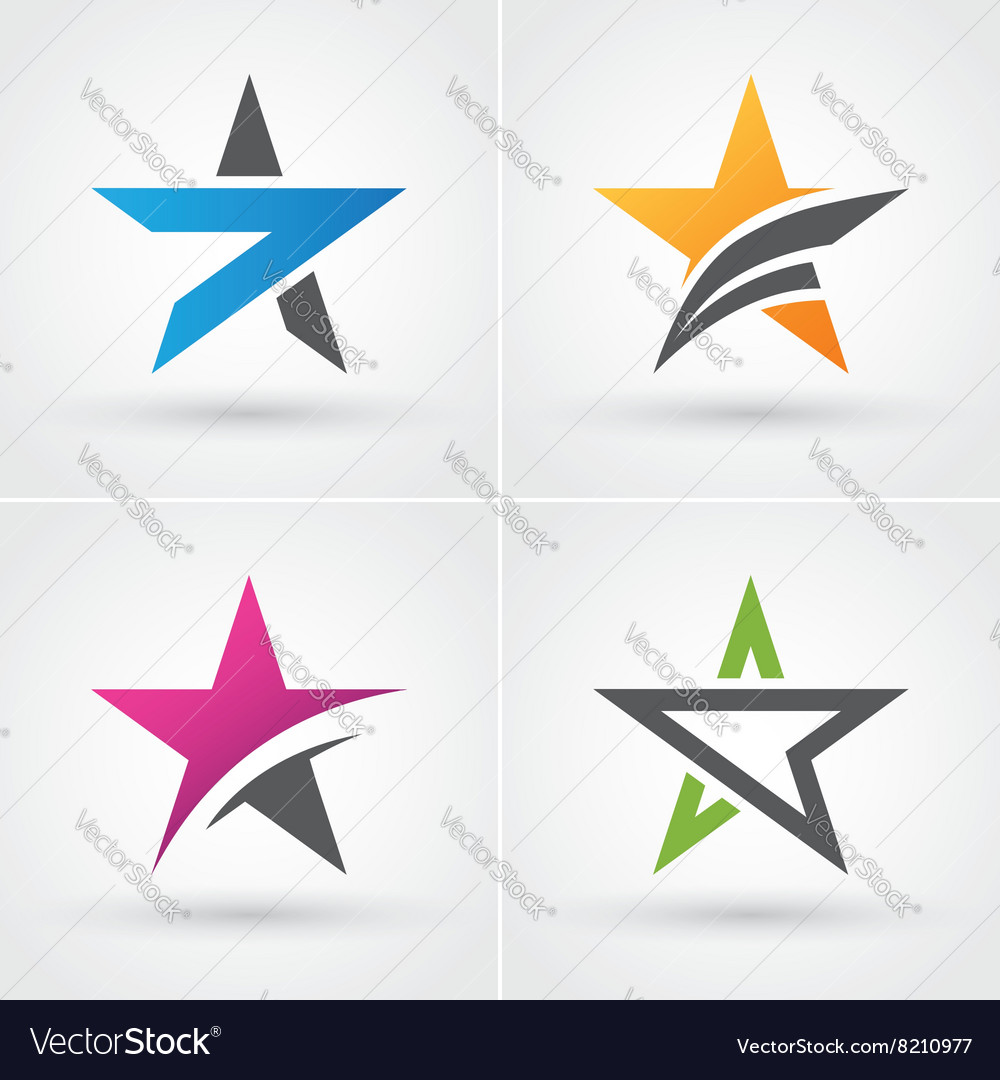 Four star icons vector