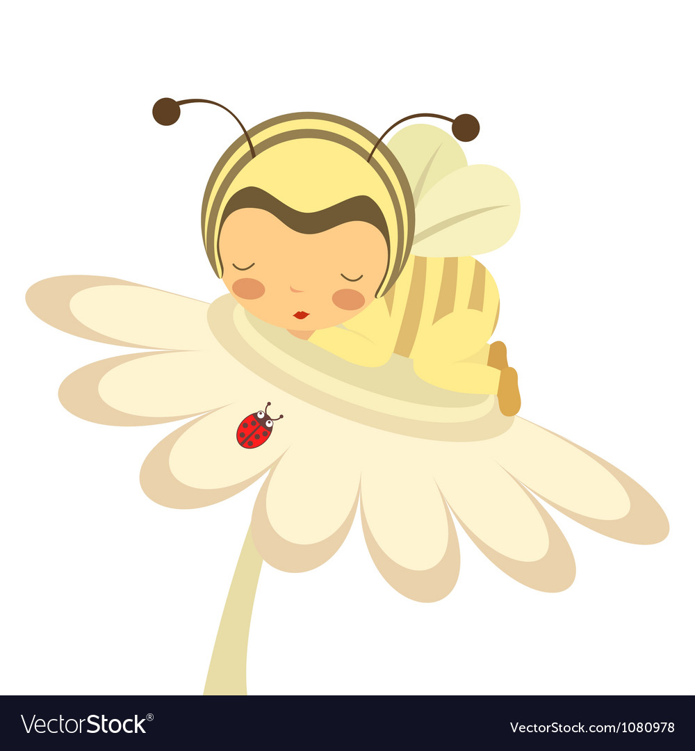 Cute baby bee slepping on flower vector