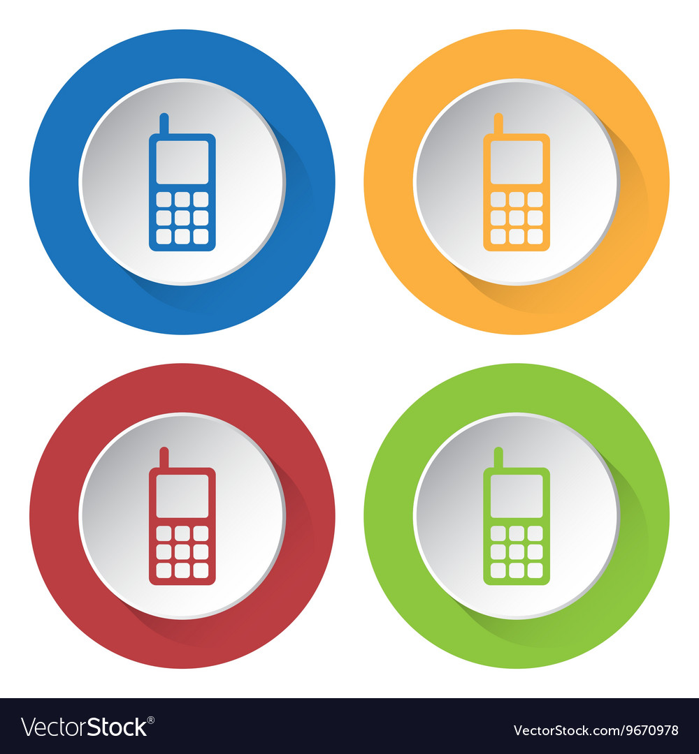 Set of four icons  old mobile phone with antenna vector