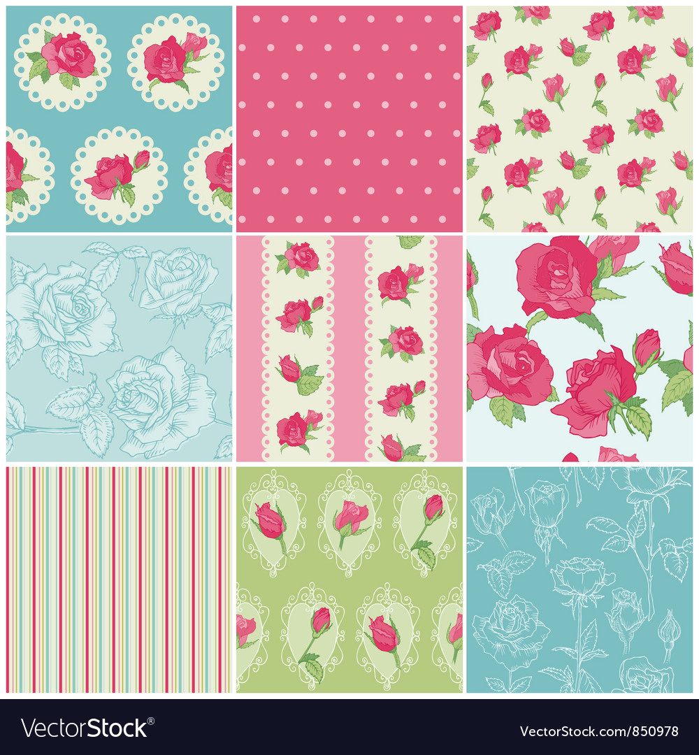 Set of seamless floral rose backgrounds vector