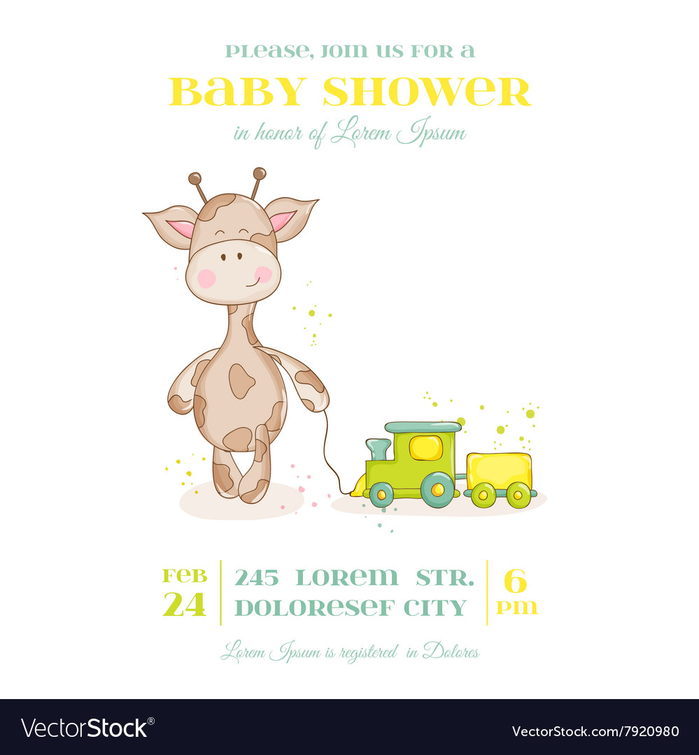Baby giraffe shower card  with place for text vector