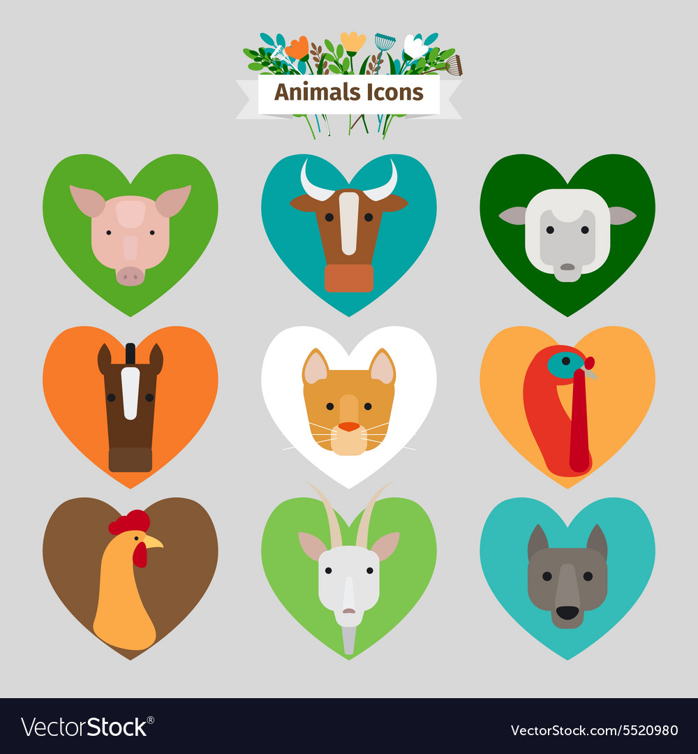 Farm animals and pets avatars vector