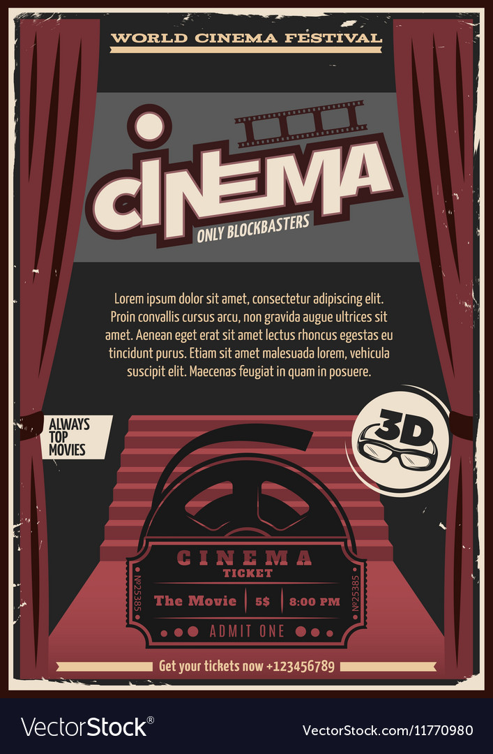 Red carpet cinema poster vector