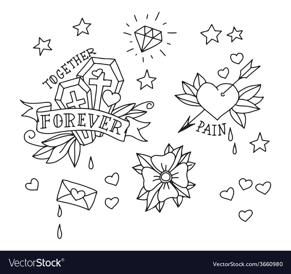 Set of hand drawn tattoo elements vector