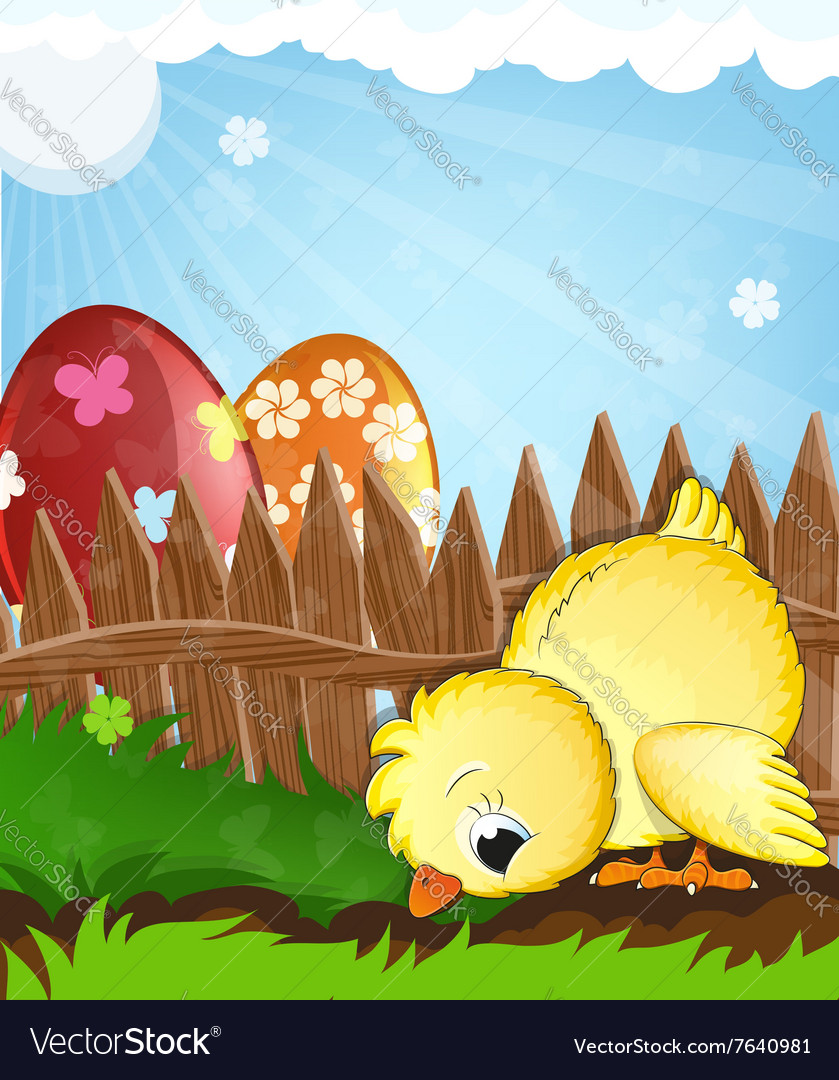 Chicken and painted eggs near a wooden fence vector