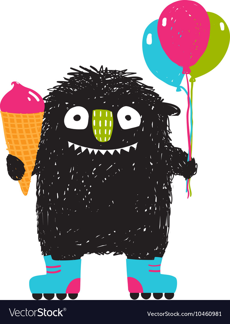 Kids fun monster with icecream balloons roller vector