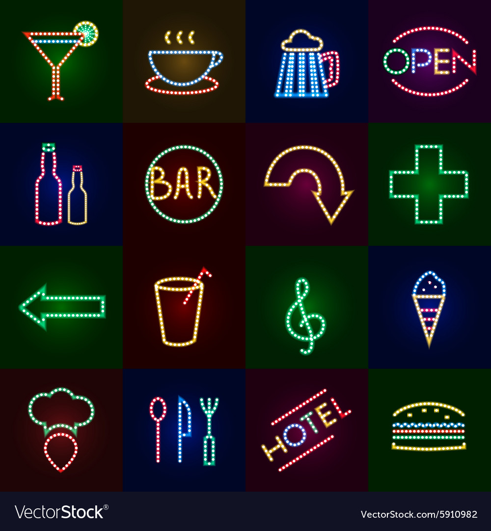 Led lights icons set vector