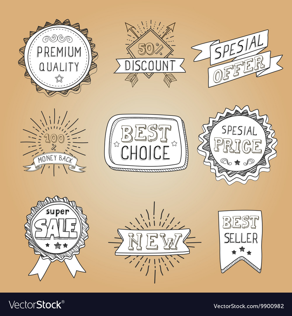Set of hand drawn style badges and elements vector