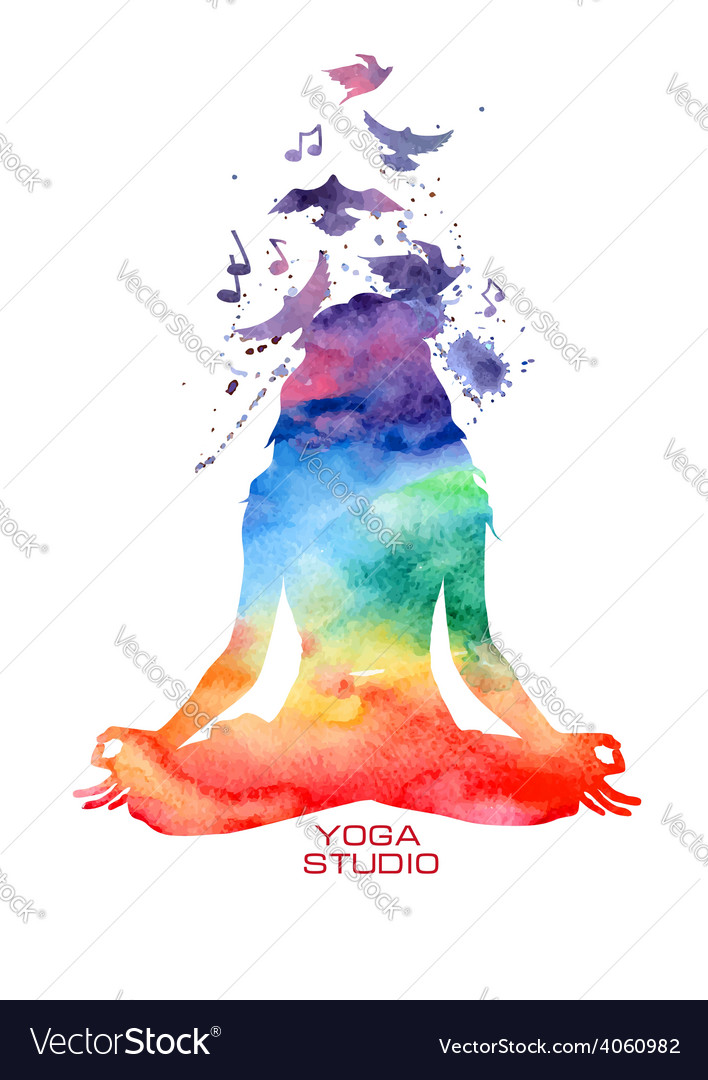 Watercolor woman silhouette of lotus yoga pose vector