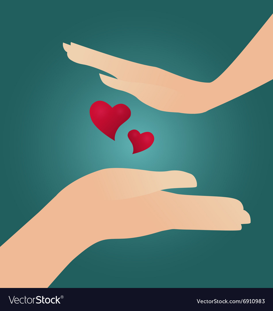 Girl hands boy hands and two red hearts vector