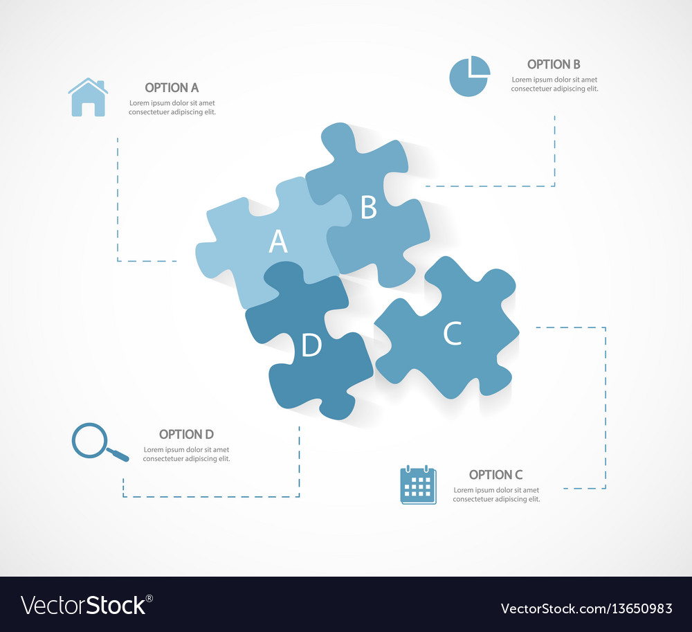 Modern business infographic puzzle 4 options vector