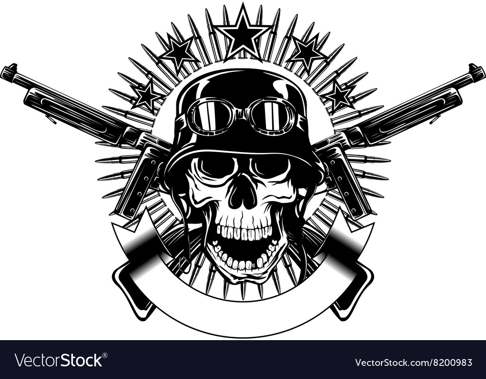 Skull in helmet with goggles and crossed machine vector