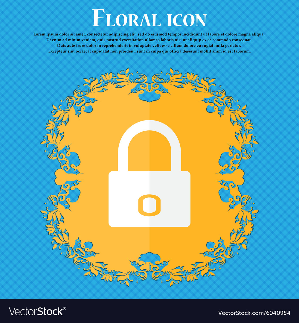 Lock sign icon locker symbol floral flat design on vector