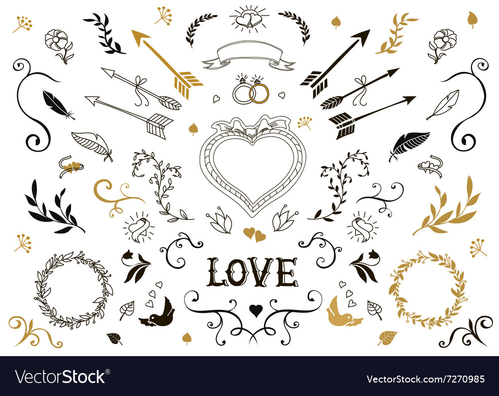 Hand drawn vintage decorative elements with vector
