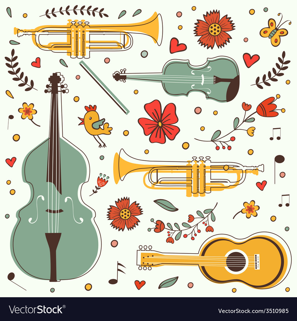 Musical instruments colorful collection with vector