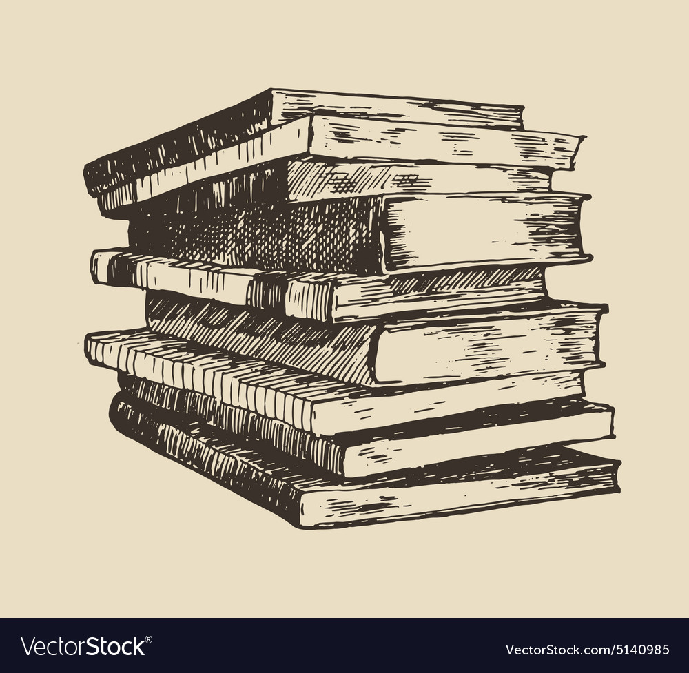 Pile stack of old books vintage hand drawn vector
