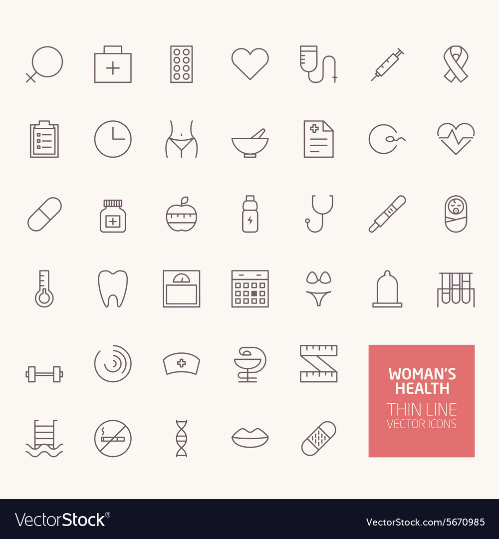 Womans health outline icons for web and mobile app vector