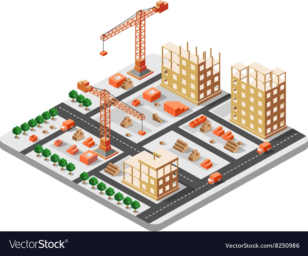 Isometric construction building vector