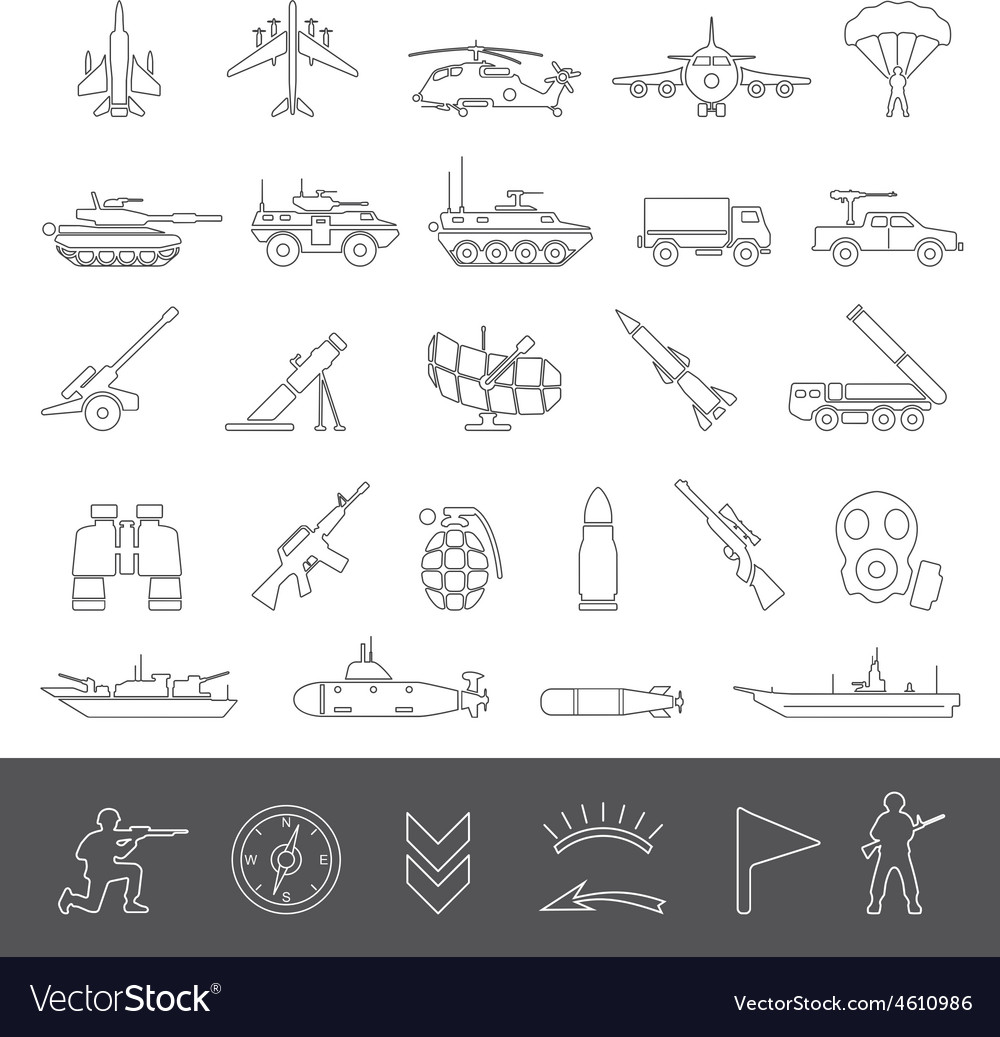 Line icons military vector