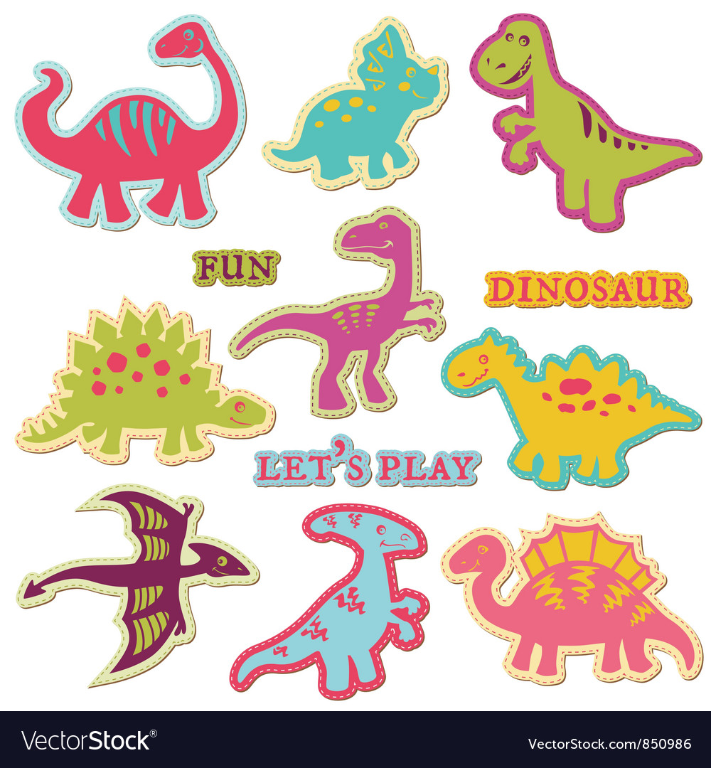Scrapbook design elements  cute dinosaur set vector