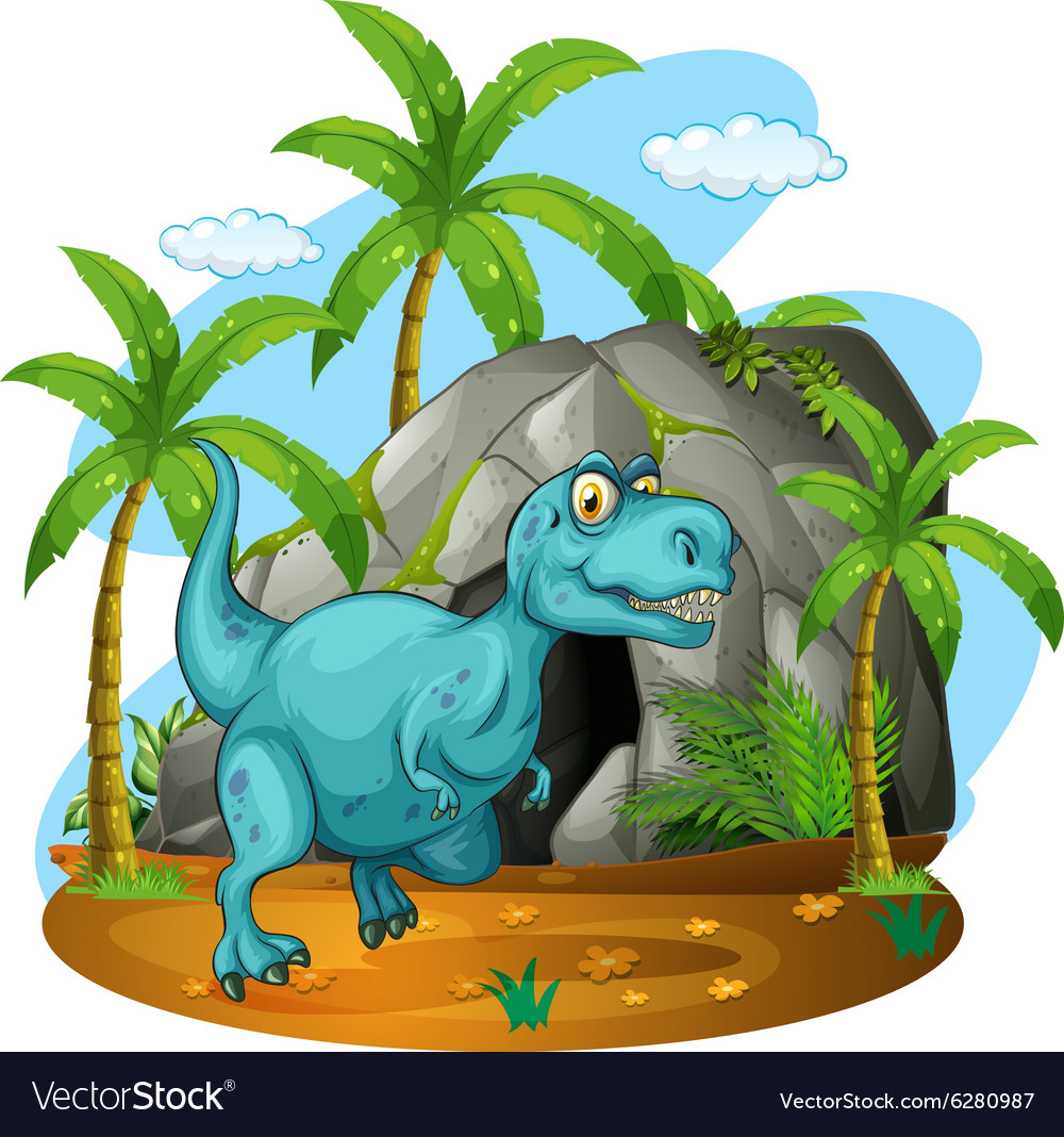 Dinosaur in front of the cave vector