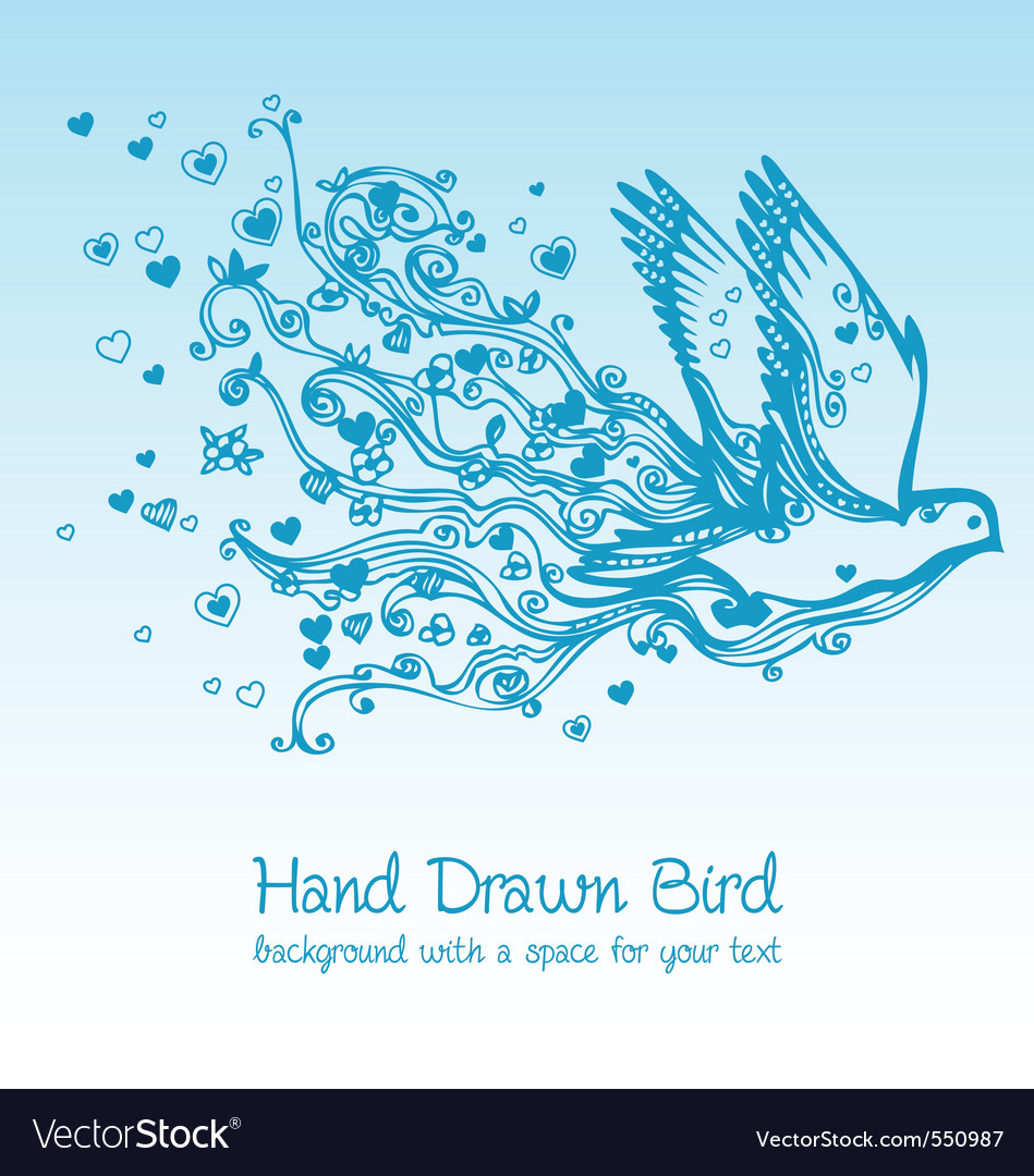 Hand drawn birds vector