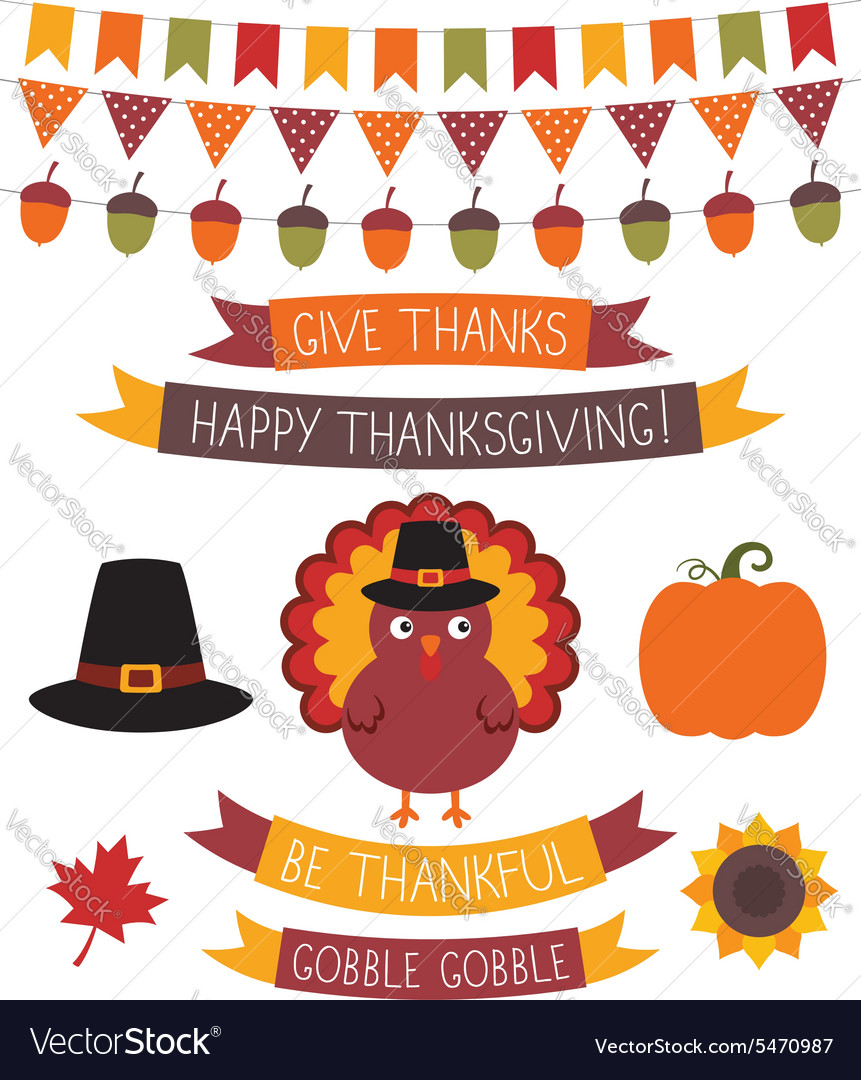 Thanksgiving design elements set vector