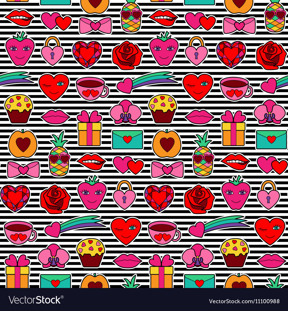 Romantic coloring seamless pattern vector