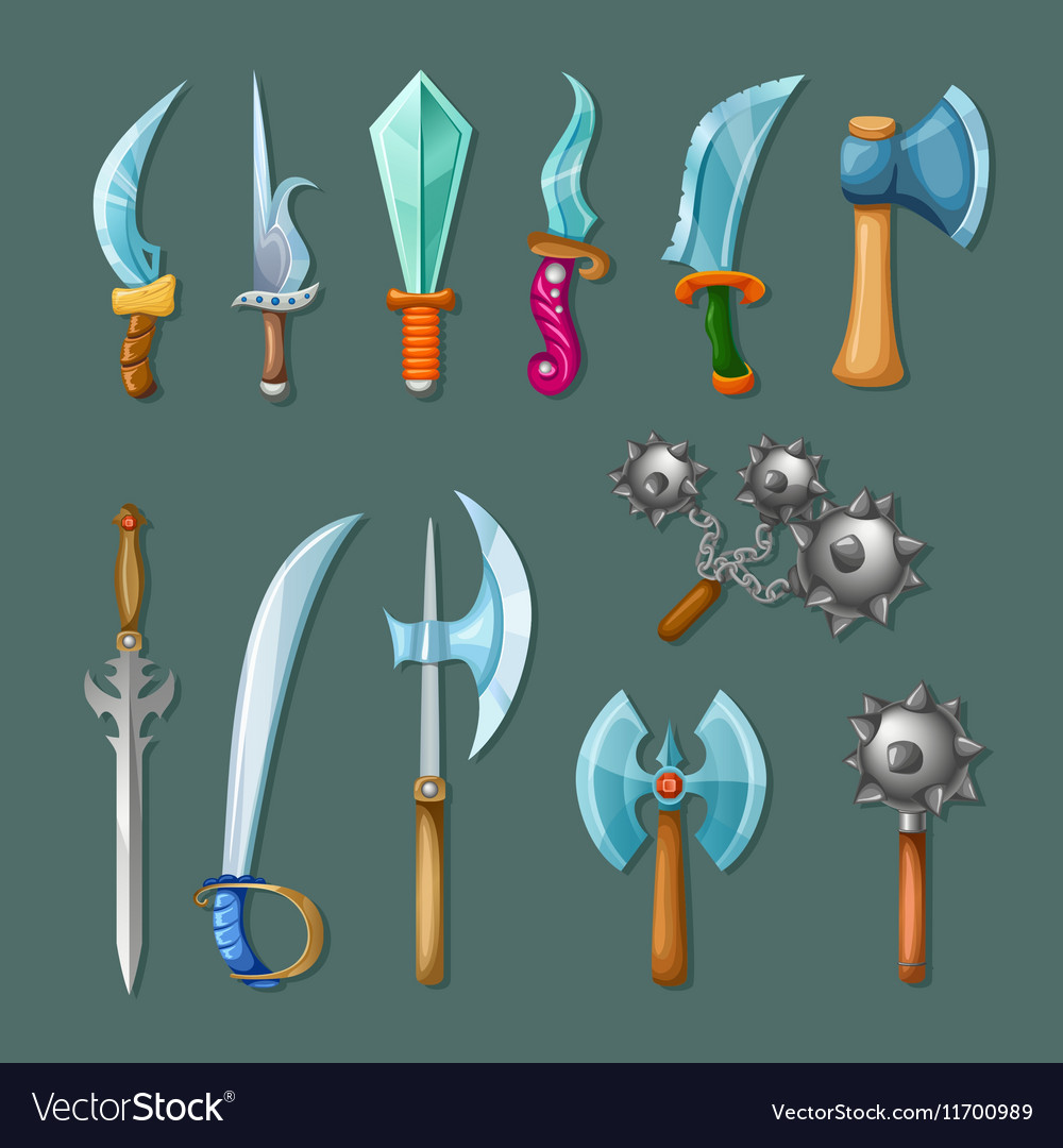 Set icon cartoon weapons vector